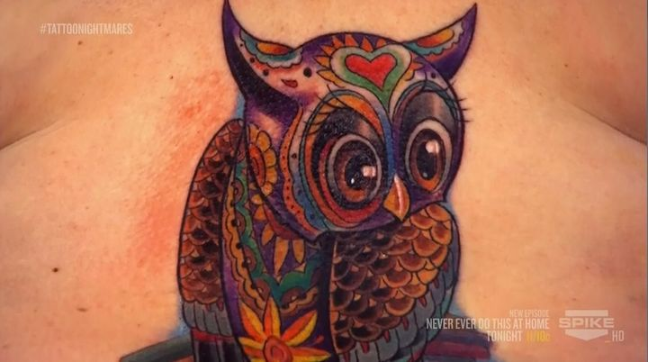 The top of the owl done by Tommy on Tattoo Nightmares