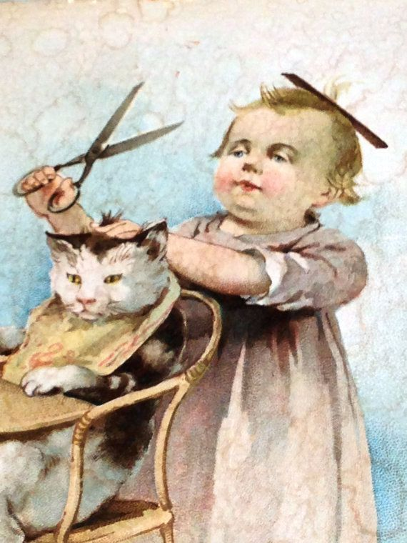 """Vintage 1894 Painting Baby Barber W/ #Cat NorthCoastCottage, $59. A toddler stands on a pot practicing his future profession - on a housecat jammed in his highchair! The confident focus on the baby's face, the look of composure wearing thin on the #cat's - and those huge kitchen shears! Backed by newspaper of the day, painting states """"Copyright 1894 by Woolson Spice Co."""" Apprx. 8.5"""" x 11"""" matted for protection & ready to frame. Some staining, but still absolutely charming #vintage…"""