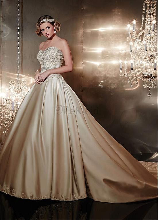 Kathedrale Schleppe Satin Herz-Ausschnitt Duchesse-Linie Sexy Sachen Brautkleid - Bild 1