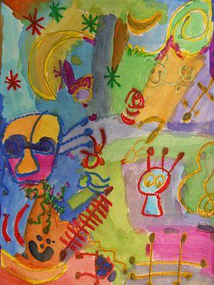 The Elementary Art Room!: First Grade Art Oil pastel resist Miro
