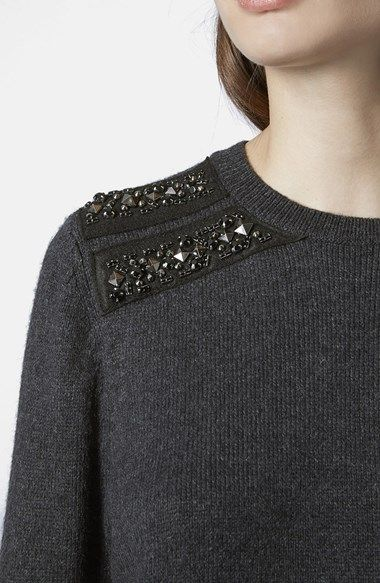 Sweater with bead embellished shoulder detail; sewing inspiration; close up fashion details // Topshop