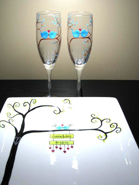 Items similar to Personalized Champagne Flutes and Ceramic Platter Painted Stemware Dishware Wedding 3pc Love Bird set on Etsy