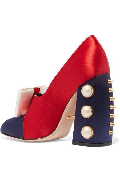 Gucci - Embellished Satin Pumps - Red - IT36