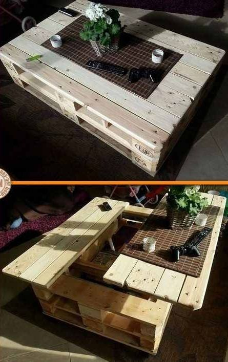 Diy Craft Project Lift Top Pallet Coffee Table Palletcoffeetables