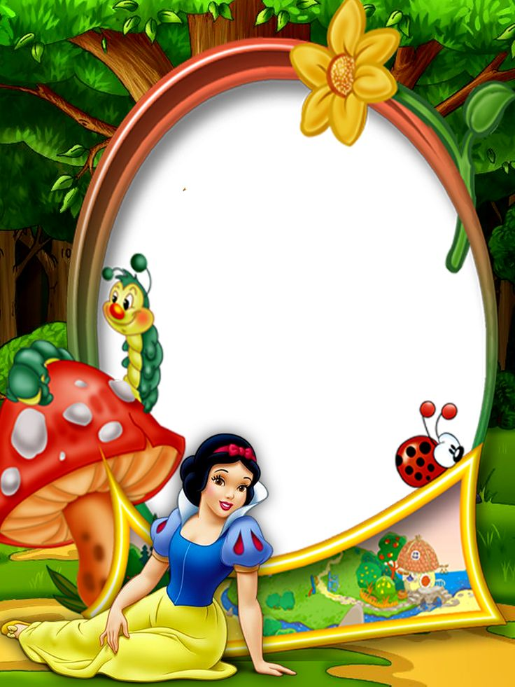 Kids Transparent Photo Frame with Snow White in the Forest