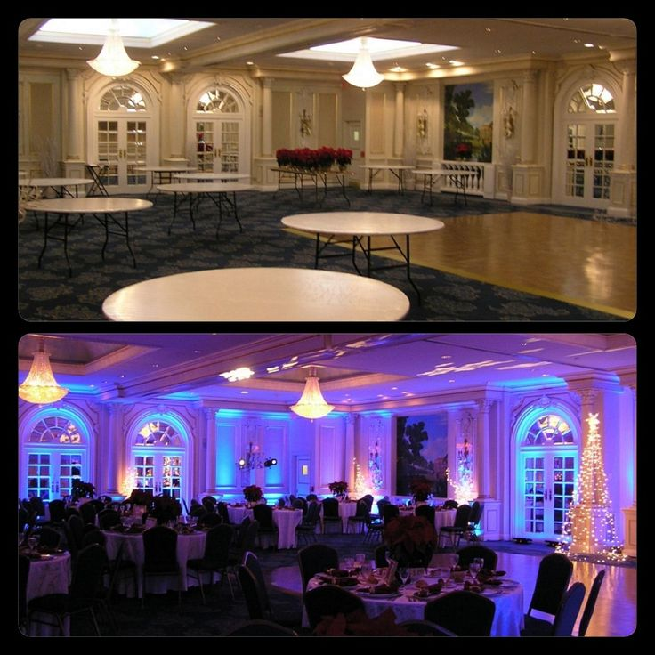 "Here's a Before & After example of the impact ""Winter Themed"" lighting can have on your venue!... Knoxville-Wedding DJ-Lighting-Uplighting"
