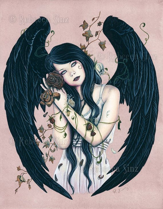Wither ORIGINAL Painting Gothic Angel Art by ElvenstarArt on Etsy, $465.00