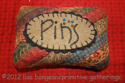 Pincushion Inspiration ~ Scraps + Embroidery + Rick Rack = Lovely!
