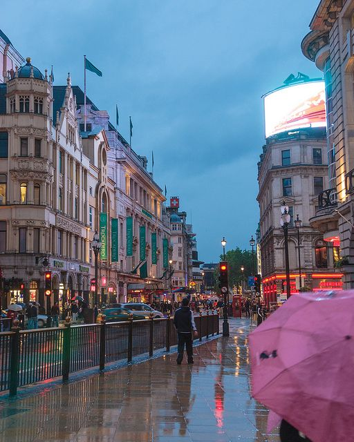 Piccadilly Circus in the Rain at dusk,London