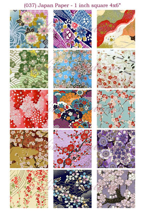 "Japan Paper (037) 1 inch square digital images collage sheet 4x6"" by evelinn on etsy"