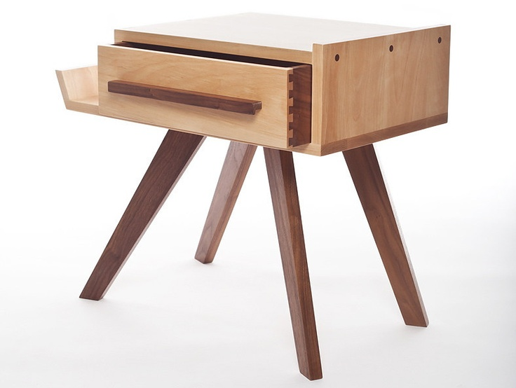 Scout Side Table from Trunk Studio with reversible drawer. Does double duty as a bedside or living room side table.