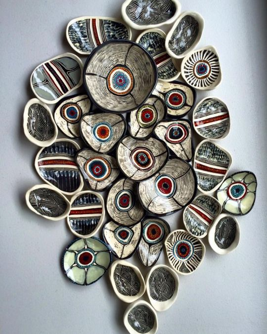 Optically Addicted Contemporary Indigenous Australian Ceramics & Mixed Media Artwork by  Penny Evans