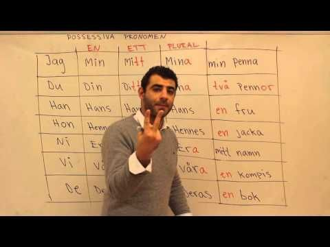 Svenska språket på arabiska (Possessiva pronomen) - YouTube