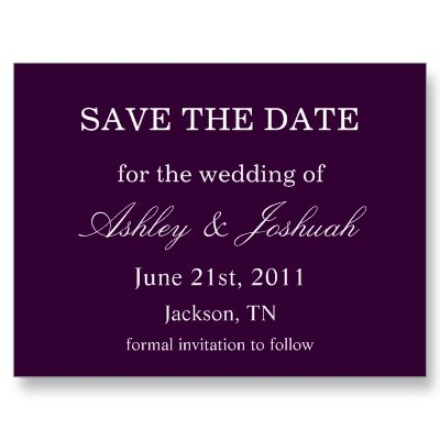 #wedding Purple Save The Date Post Cards