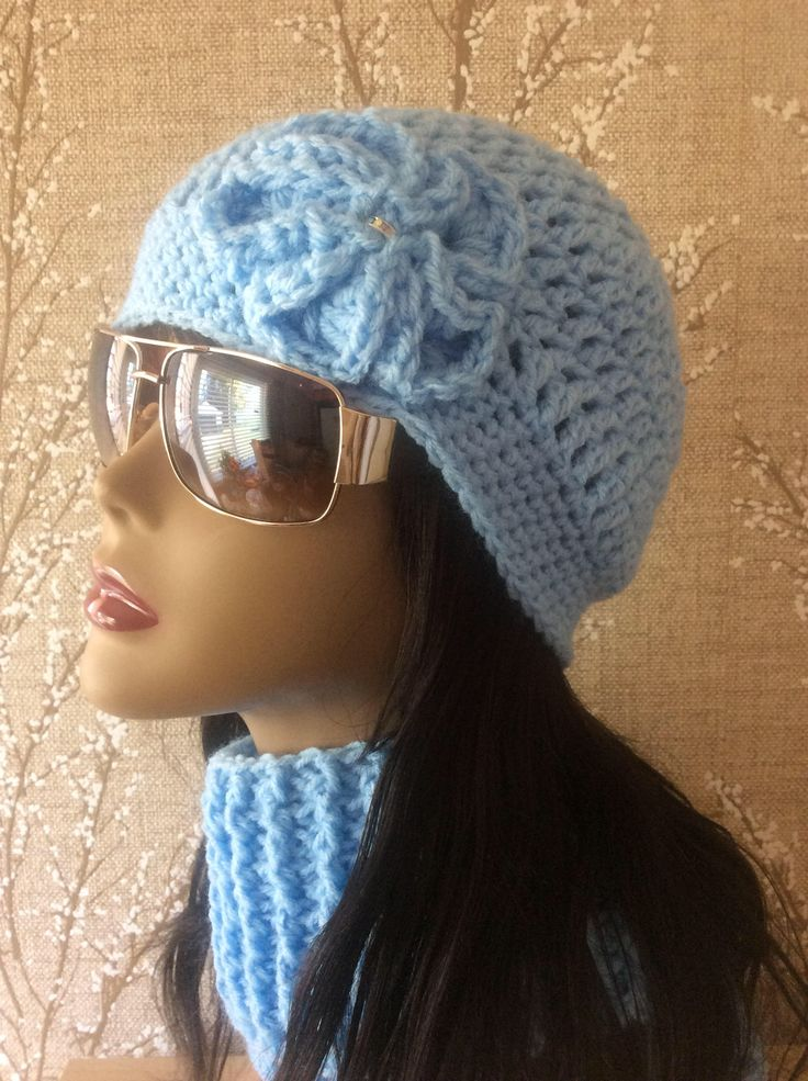 Excited to share the latest addition to my #etsy shop: Blue Crochet Hat, Womens Slouchy Beanie, Slouchy Hat, Slouch Beanie,  Hat And Scarf.  FREE SHIPPING Women Beanie hat and scarf