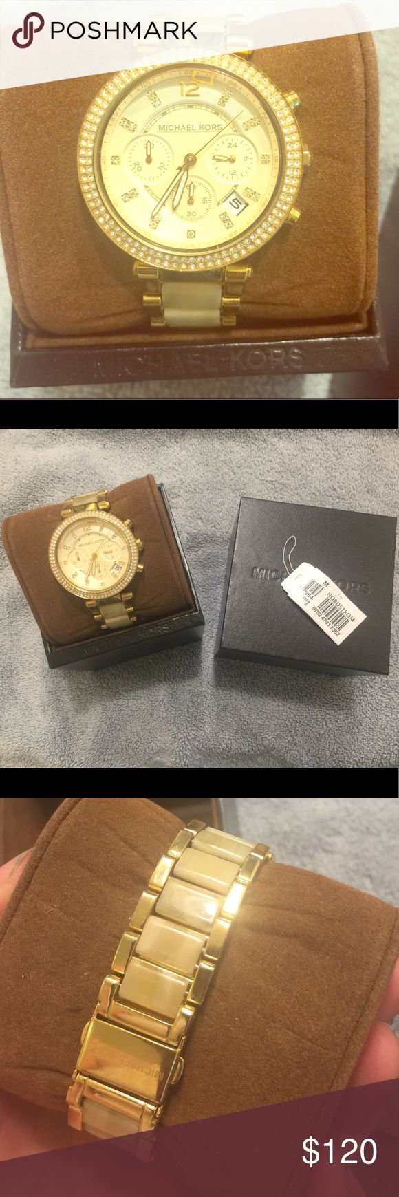 Michael Kors women's gold & diamond watch Michael Kors women's gold and diamond watch.  With box. In perfect condition, barely worn. Michael Kors Accessories Watches