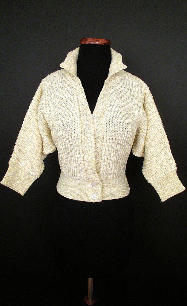 1950's Cream and Gold Lurex Bolero Sweater Catnip Repro Vintage