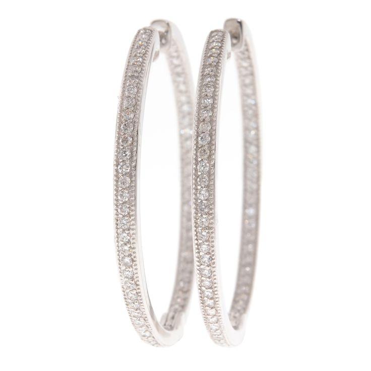 LOVE these!!!   Jude Frances 18-Karat White Gold & Diamond Hoop Earrings