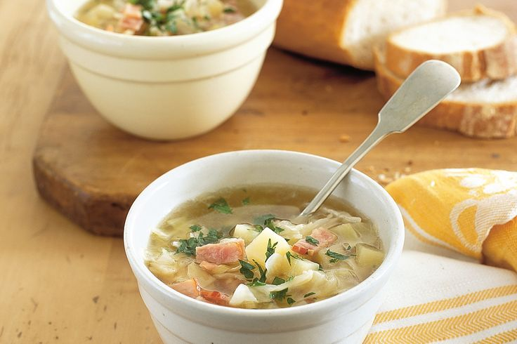 Delicious+pieces+of+salty+bacon+add+a+meaty+touch+to+this+hearty+cabbage+and+potato+soup.