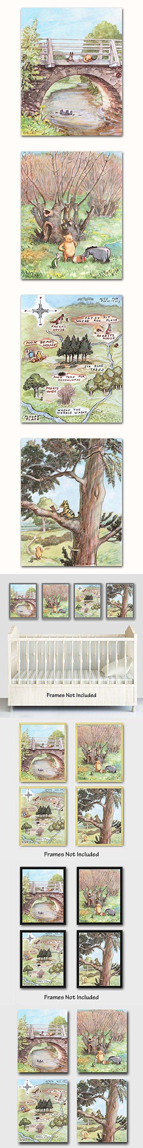 "(Set of 4) Winnie the Pooh Art (Classic Nursery Wall Decor, Baby Room Prints) ""Winnie Has Fun"" -- Unframed"