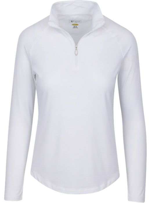 Essentials White Greg Norman Ladies & Plus Size L/S Heathered 1/4-Zip Mock Golf Shirt. Find more stylish ladies outfits at #lorisgolfshoppe