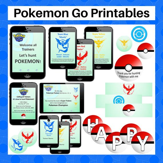 Pokemon Go 2016 Party Printable Pack  by EasyBreezyParties on Etsy
