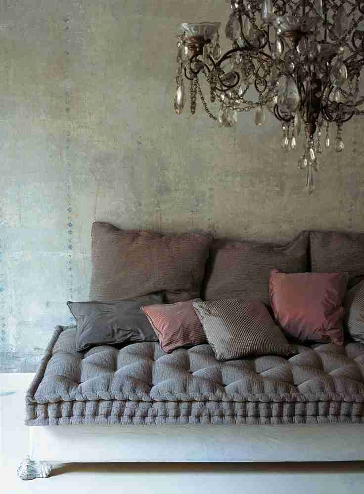 Shabby chic and bohemian daybed and crystal chandelier