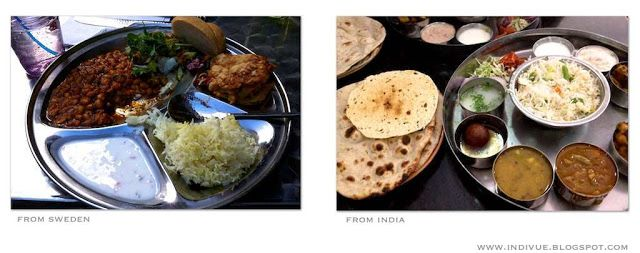 Swedish and Indian thali - Ruotsalainen ja intialainen thali