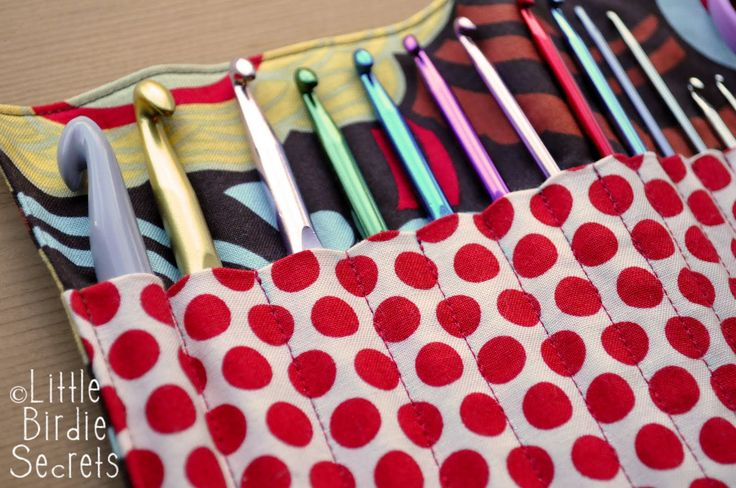 I've been carrying my crochet hooks around in a plastic bag for some  time now. When they started escaping through little holes in the bag, ...
