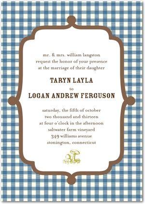 Signature White Textured Wedding Invitations Gracious Gingham Via Paper Divas
