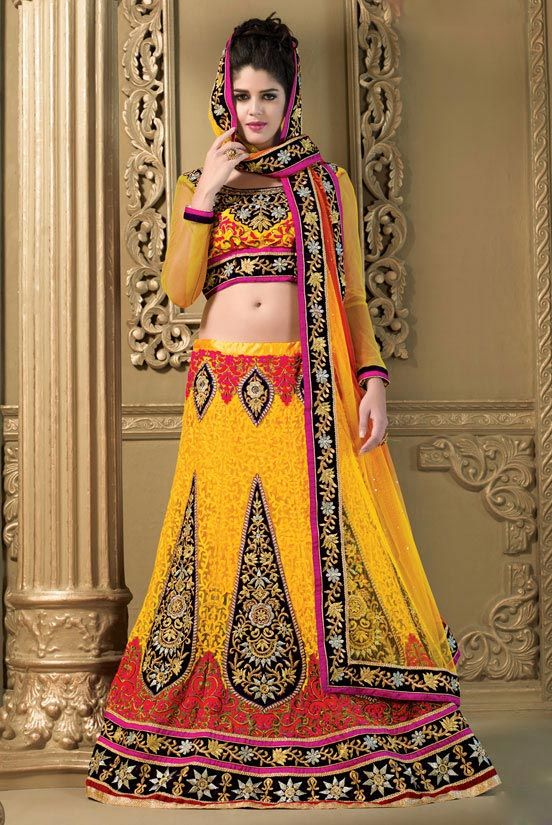 Look Stunning with this Yellow #Lehenga Choli Set #indianethnic #fabethnic  Product Code - SM001SA For Prices and more details, contact Whtsapp:+919924064383 Email: info@fabethnic.com Viber:+919924064383
