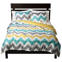Affordable, bold, graphic bedding that would be great for a dorm room or college apartment - Room Essentials® Chevron Comforter - White : Target