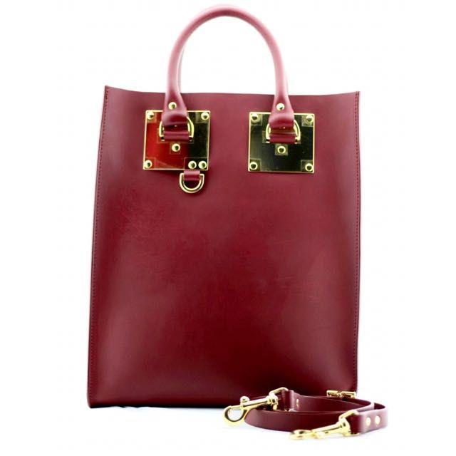 Sophie Hulme Burgundy Albion Mini Tote Bag on Carousell