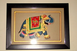Art Form: Mysore Painting-Elephant    Item: Painting - Wall Piece    Image: Elephant    Size: 22.5cmX14.5cm    Details: Mysore Painting in Natural Dyes & Gold Polish    Color: Multi-colored, Natural Dyes    (The actual products may look different in color, texture, and size from the digital images. Zoom images may take time to display.)    Price: INR: 880    Item #: SU76