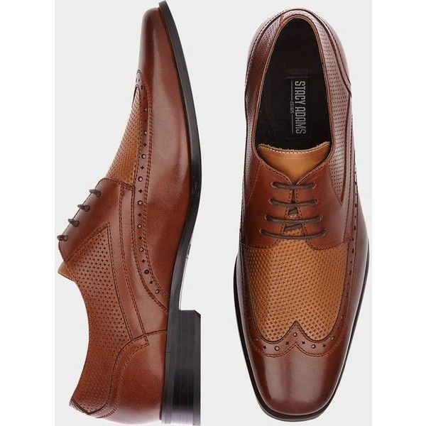 Stacy Adams Whitby Brown and Tan Wingtip Shoes ❤ liked on Polyvore featuring shoes, wingtip dress shoes, wingtip shoes, wing tip shoes, brown wingtip shoes and brown dress shoes