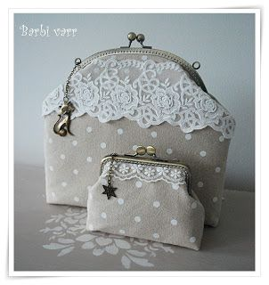 Dots with lace.  Frame bag and purse.