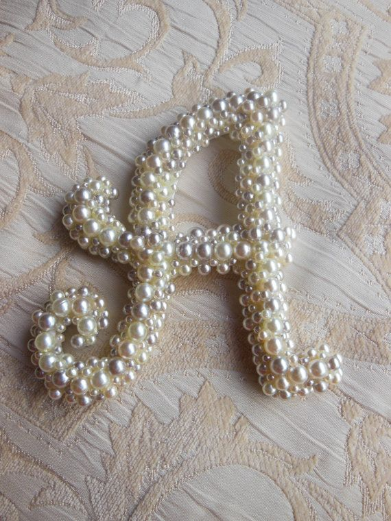 This is gorgeous. Pearl Monogram Letter 'A'