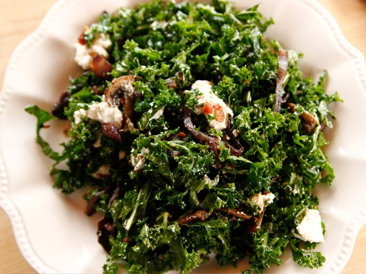 Killer Kale Salad (with Crispy Bacon, Goat Cheese, Caramelized Onions and Mushrooms with Balsamic Vinaigrette) recipe from Ree Drummond - Ree's favorite healthy salad! 5 of 5 Stars, 2 Reviews | Food Network