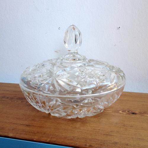 イギリスアンティーク プレスドガラスのキャンディーポット/カットガラス E17