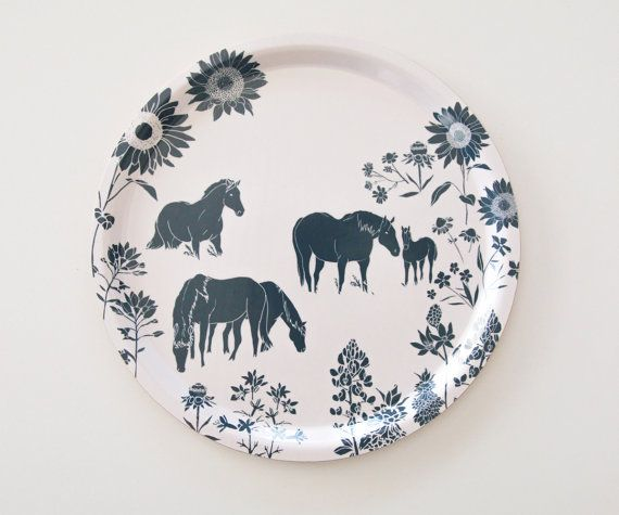 "Modern Round Birch Serving Tray  - ""Wild Horses"" - size 32cm x 32cm, Minimal and Modern decor"
