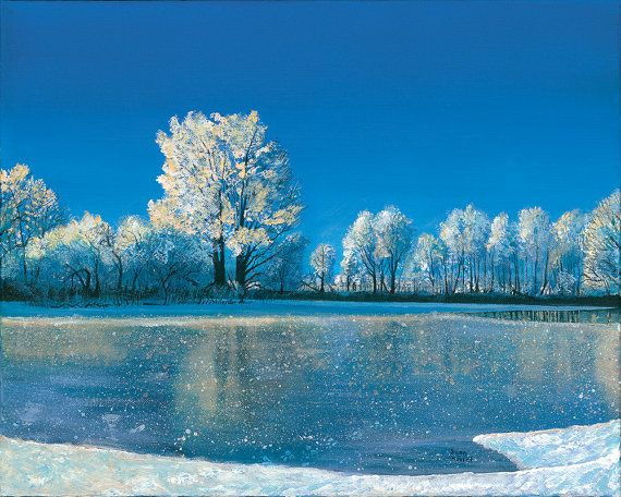 Ice Pond winter landscape Acrylic Painting 20 x 16 by by ...