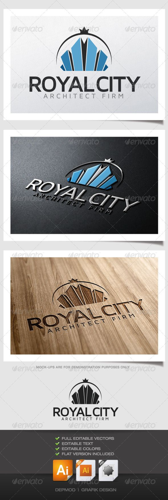 fir letter format%0A Royal City Logo  GraphicRiver Logo of buildings making a crown look  Can be  used