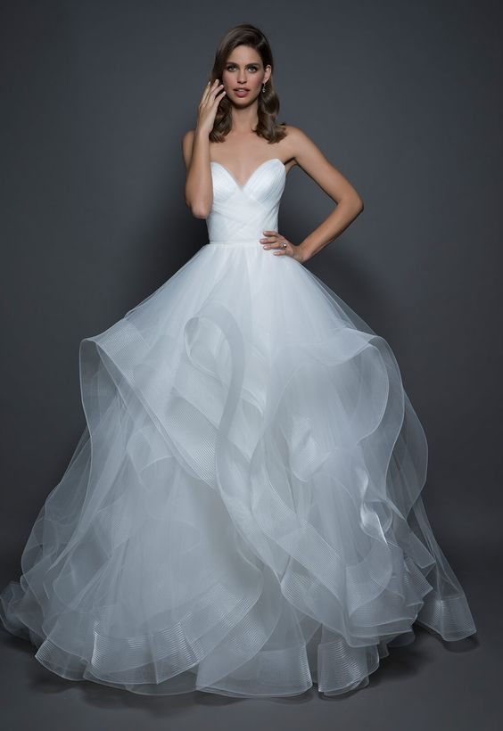 183b8875f57 Strapless sweetheart ball gown with ruffle chiffon skirt.