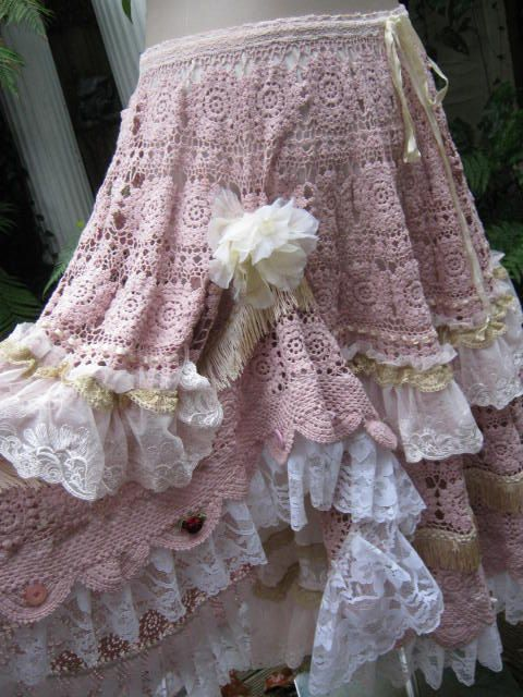 Layers of vintage lace and crochet! Another gorgeous creation by Sistersroseandruby.