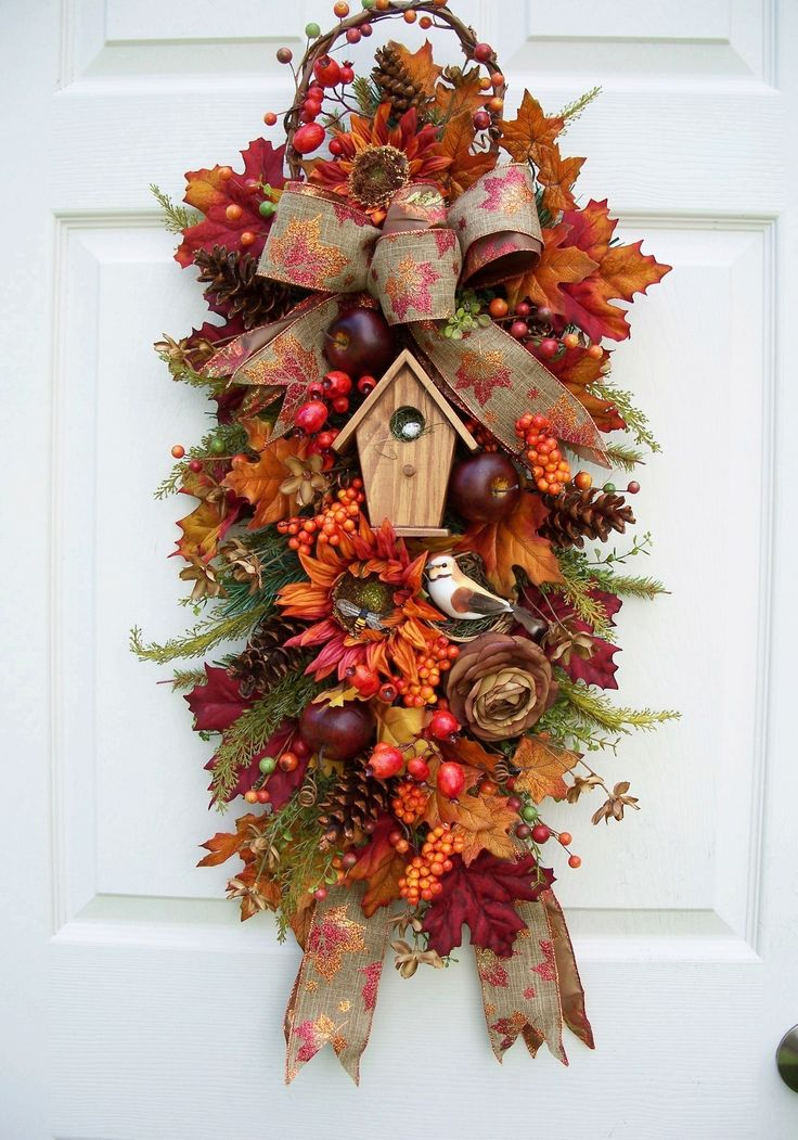 Fall Swag--Wreath Alternative http://www.timelessfloralcreations.com/