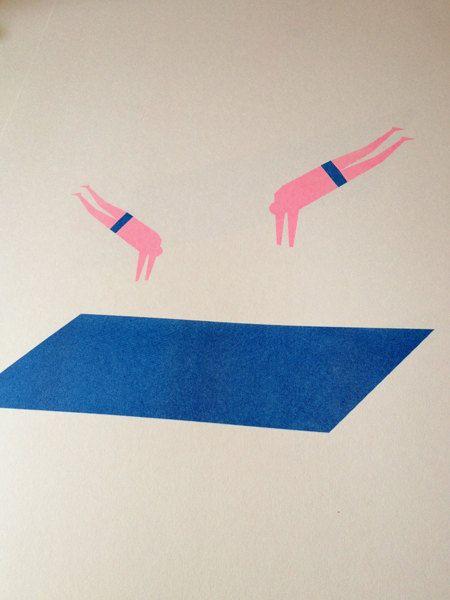 Color ref: Blue: fluo pink Divers A3 risograph print on Munken paper. $22.50, via Etsy.