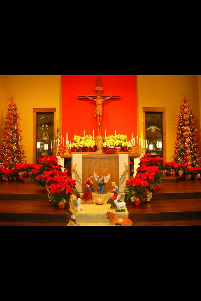 Christmas decorations at st peter 39 s catholic church for Christmas church decoration ideas