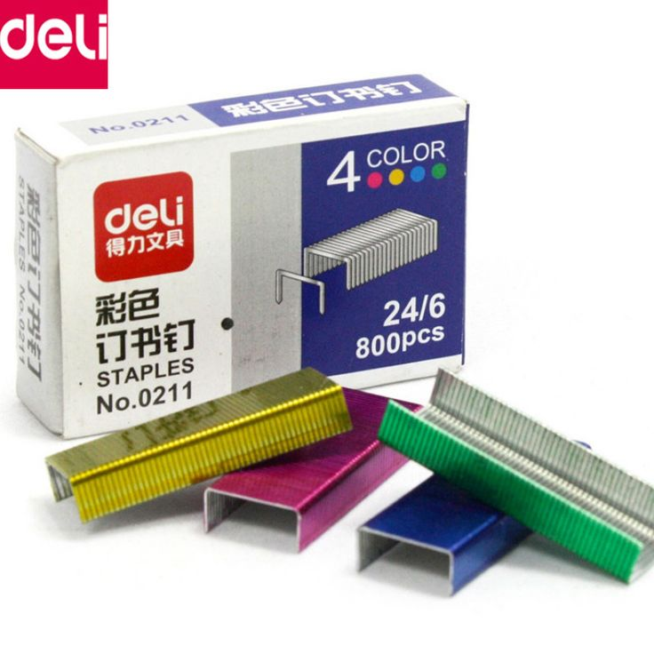 Deli Stationery Wholesale Colored Staples for Stapler Paper Booking Binder Office School Supplies(10 Box/Set 24/6 8000 Pieces)