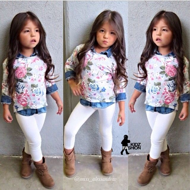 Kids Fashion ✴❤ñ§ñk❤✴ Love the floral sweater over the chambre top