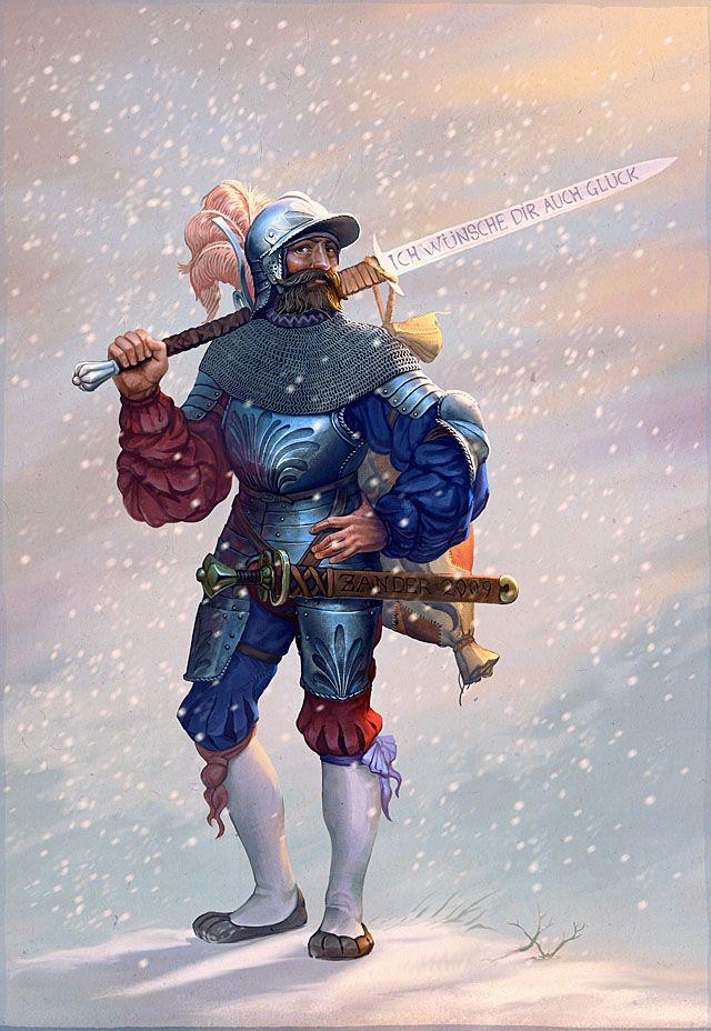 Landsknecht ~ Note the huge Zweihänder sword over his shoulder, and the smaller Katzbalger sword at his hip, both emblematic of the Landsknecht.